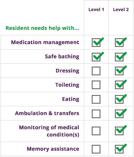 Levels of Care Comparison